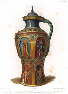 Напольный керамический кувшин с изображениями Адама и Евы из баварского города Вюрцбурга (из Les arts somptuaires... Париж. 1858 год)