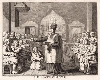 Преподавание основ веры в воскресной школе. Французская гравюра конца XVIII века