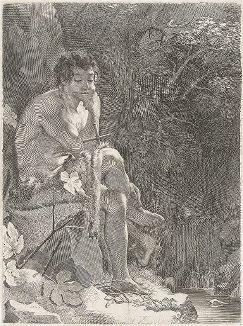 Иоанн Креститель в пустыне. Гравюра Клода Меллана, 1629 год.