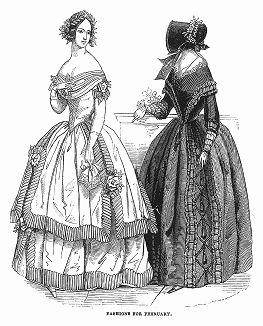 Белое платье из крепа, расшитое украшениями, напоминающими бутоны роз (слева), платье из гроденапля -- особого вида шёлковой ткани, украшенное рюшами (справа) -- парижская мода, февраль 1844 года (The Illustrated London News №91 от 27/01/1844 г.)
