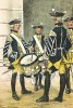 Барабанщики шведской лейб-гвардии в униформе образца 1765-78 г. на посту. Svenska arméns munderingar 1680-1905. Стокгольм, 1911