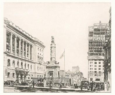 Балтимор, США. Репродукция офорта Пола М. Роша.