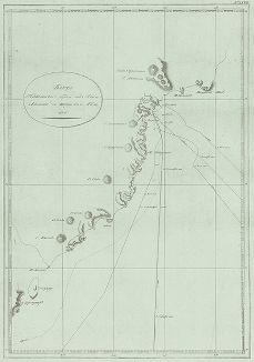 Карта Камчатского берега от мыса Лопатки до Шипунского мыса. 1806 год.