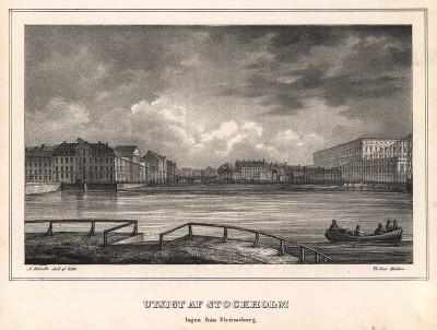 Вид на Стокгольм с острова Стромсборг. Stockholm forr och NU. Стокгольм, 1837