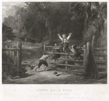 Счастлив, как король. Офорт Эдварда Финдена по одной из лучших жанровых картин Уильяма Коллинза. Лондон, ок. 1840 г.