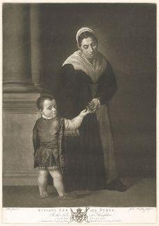 Сын Тициана с няней. Меццо-тинто с оригинала Тициана Вечеллио из коллекции Роберта Уолпола. Лист из издания The Houghton Gallery, Лондон, 1778.