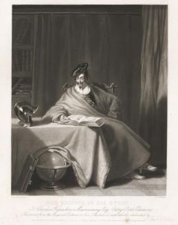 Дон Кихот за чтением. Меццо-тинто Джозефа Кумбса с оригинала Генри Ливерсиджа из коллекции мистера Чарльза Мэйнеринга, эсквайра. Лондон. 1834 год