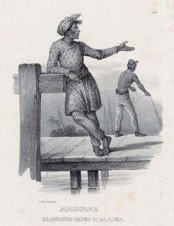 Малаец в традиционном костюме (лист 25 второго тома работы профессора Шинца Naturgeschichte und Abbildungen der Menschen und Säugethiere..., вышедшей в Цюрихе в 1840 году)