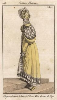 Шубка на шелковой подкладке, увенчанная атласной шляпкой с полосками из бархата. Из первого французского журнала мод эпохи ампир Journal des dames et des modes, Париж, 1813. Модель № 1290