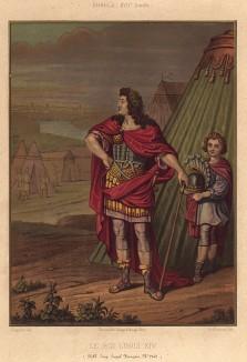 Король Людовик XIV (1638-1715), Король-Солнце, в костюме древнеримского полководца во время военного похода времён Фронды (из Les arts somptuaires... Париж. 1858 год)