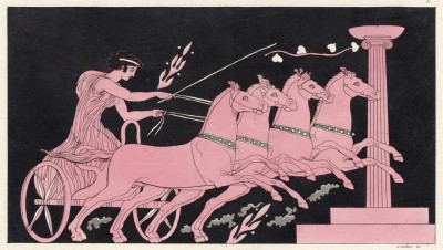 Заезд на колесницах (с античной вазы) (из знаменитой работы Джулио Феррарио Il costume antico e moderno, o, storia... di tutti i popoli antichi e moderni, изданной в Милане в 1816 году (Европа. Том I))