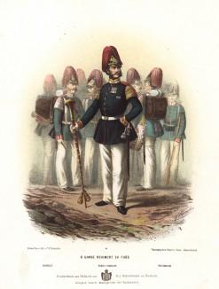 Тамбур-мажор и военные музыканты прусской лейб-гварди в униформе образца 1870-х гг. Preussens Heer. Берлин, 1876