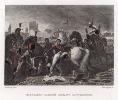 Ранение Наполеона перед битвой у Ратисбонна 19 апреля 1809 года (с картины художника Готеро)