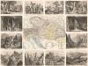 Карта Австро-Венгрии, а также 12 картушей, гравированных на стали в 1862 году, с изображениями жителей, животных, пейзажей и памятных мест империи. Illustriter Handatlas F.A.Brockhaus. л.21. Лейпциг, 1863