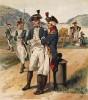 Офицеры американской пехоты и артиллерии в 1783-1796 гг. (лист 7 одной из самых красивых серий хромолитографий конца XIX века, посвящённых военной форме. Издано в Нью-Йорке силами генерал-квартирмейстера армии США)