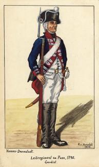 1790 г. Солдат гвардейского пехотного полка zu Fuss ландграфства Гессен-Дармштадт в карауле. Коллекция Роберта фон Арнольди. Германия, 1911-29