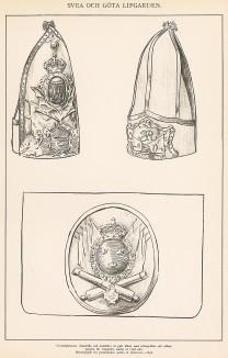 Головные уборы и бляха с патронташа шведских гренадеров середины XVIII века. Svenska arméns munderingar 1680-1905. Стокгольм, 1911