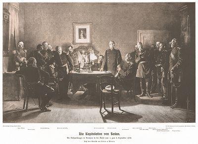 2 сентября 1870 г. Бисмарк принимает капитуляцию французской армии в Седане. Bismarck-Denkmal für das Deutsche Volk von Bruno Garlepp. Берлин, 1913