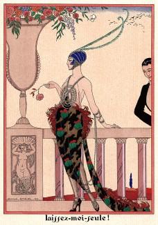 »Ах, оставьте меня!» Рекламная иллюстрация Жоржа Барбье в технике пошуар для неизвестного французского дома моды. Les feuillets d'art. Париж, 1920