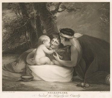 Малютка Уильям Шекспир (1564-1616) в окружении Трагедии и Комедии. С живописного оригинала Джорджа Ромни. Boydell's Graphic Illustrations of the Dramatic works of Shakspeare, Лондон, 1803.