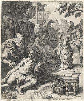 Притча о блудном сыне. Гравюра Якоба де Гейна по оригиналу Карела ван Мандера, 1596 год. Левая половина.
