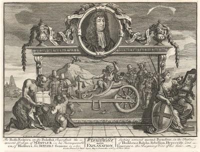 Гудибрас, 1725-26. Фронтиспис к сатирической поэме Сэмуэля Батлера «Гудибрас», высмеивающей ханжество пуритан. В центре - портрет Батлера (1612-80), на барельефе – два главных героя, запряженных в дьявольскую колесницу. Лондон, 1838