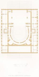 План V. Амфитеатр (из редкого альбома литографий Reconstruction du Grand Théâtre de Moscou dit Petrovski, посвящённого открытию Большого театра после реконструкции 20 августа 1856 года и коронации императора Александра II. Париж. 1859 год)