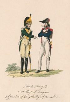 """1810-е годы. Французский драгун (слева) и гренадер 94 полка линейной пехоты. Из редкой работы """"Европейский военный костюм"""", изданной в Лондоне в разгар наполеоновских войн"""