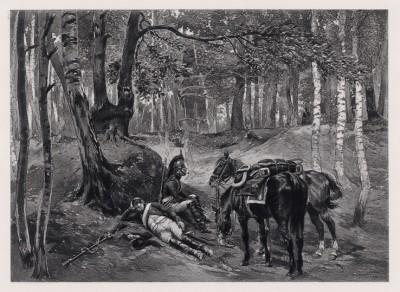 """1800 год. Сон французского кавалериста 4-го полка драгун (иллюстрация к известной работе """"Кавалерия Наполеона"""", изданной в Париже в 1895 году)"""
