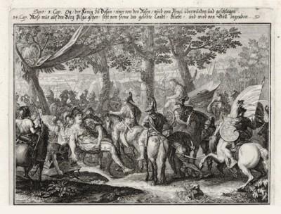 Старость Моисея (из Biblisches Engel- und Kunstwerk -- шедевра германского барокко. Гравировал неподражаемый Иоганн Ульрих Краусс в Аугсбурге в 1700 году)