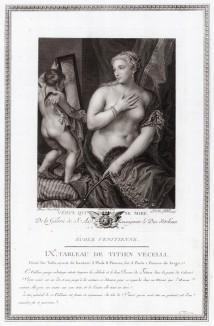 Венера перед зеркалом. Galérie du Palais Royal gravée d'après les tableaux des différentes еcoles... Париж, 1786