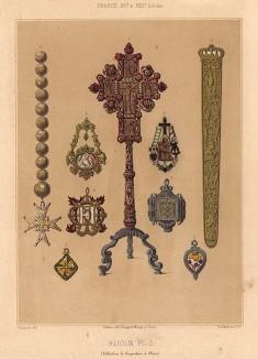 За пять веков до Frey Wille: эмалевые подвески-амулеты с изображением святых, а также ренессансные ожерелья, кулоны, серьги (из Les arts somptuaires... Париж. 1858 год)