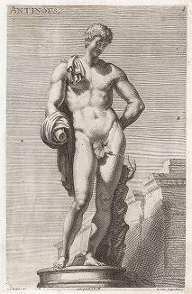 Антиной (Гермес) Бельведерский. Лист из Sculpturae veteris admiranda ... Иоахима фон Зандрарта, Нюрнберг, 1680 год.