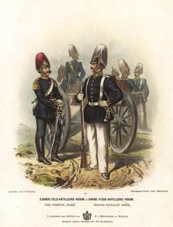 Нижние чины 2-го гвардейского полка полевой артиллерии прусской армии в униформе образца 1870-х гг. Preussens Heer. Берлин, 1876