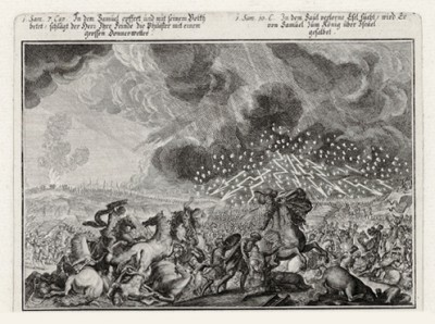 Гроза над лагерем филистимлян (из Biblisches Engel- und Kunstwerk -- шедевра германского барокко. Гравировал неподражаемый Иоганн Ульрих Краусс в Аугсбурге в 1700 году)