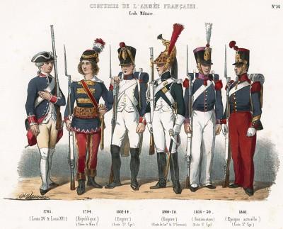 Униформа воспитанников французских военно-учебных заведений с 1783 по 1841 гг. Costumes de l'armée française depuis Louis XIV, jusqu'à nos jours, л.36. Париж, 1841
