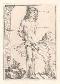 Святой Себастьян у столба. Гравюра Альбрехта Дюрера, выполненная ок. 1499 года (Репринт 1928 года. Лейпциг)