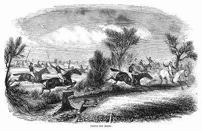 Участник стипл-чейза -- вида скачек по пересечённой местности до заранее условленного пункта, проводимых в графстве Нортгемптоншир, чья лошадь оказалась не в силах успешно переправиться через ручей (The Illustrated London News №101 от 06/04/1844 г.)