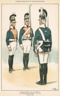 Гренадеры шведской лейб-гвардии в униформе образца 1798-1807 гг. Svenska arméns munderingar 1680-1905. Стокгольм, 1911