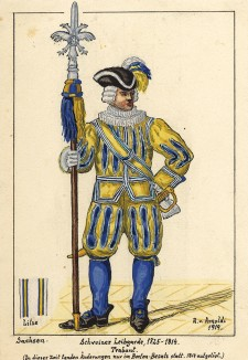 1725-1814 гг. Офицер швейцарской гвардии короля Саксонии с протазаном. Коллекция Роберта фон Арнольди. Германия, 1911-29
