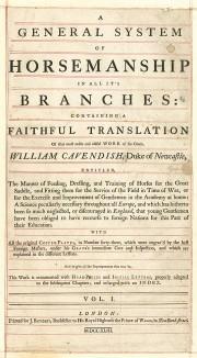 Титульный лист англоязычного издания бестселлера XVII-XVIII вв. A General System of Horsemanship in Аll It's Вranches герцога Ньюкасла, том I. Лондон, 1743