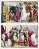 23 апреля 1348 г. Учреждение наиблагороднейшего ордена Подвязки королём Англии Эдуардом III (1312-77) (вверху). Бракосочетание Генриха I Боклерка (1068-1135) и Матильды Шотландской 11 ноября 1100 г. Милан, 1826