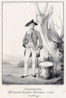 Историческое описание одежды и вооружения российских войск... А. В. Висковатова. Барабанщик мушкетёрского Цеге фон Мантейфеля полка в 1761 году (лист 430)