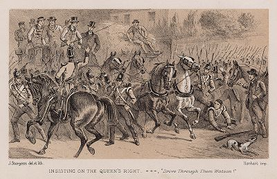 Проишествие на Куинс-райт: дилижанс врезается в колонну марширующих солдат.