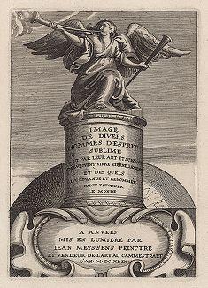 """Трубящий ангел. Титульный лист первого издания """"Портреты наиболее выдающихся художников и других известных деятелей искусства, работавших в Европе"""", выпущенного Яном Мейссенсом в 1649 году."""