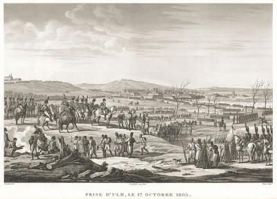 """Взятие города Ульм 17 октября 1805 года. Гравюра из альбома """"Военные кампании Франции времён Консульства и Империи"""". Campagnes des francais sous le Consulat et L'Empire. Париж, 1834"""