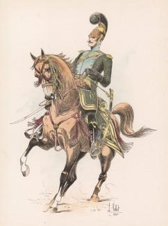 """Офицер французских конных егерей наполеоновской эпохи (из """"Иллюстрированной истории верховой езды"""", изданной в Париже в 1891 году)"""