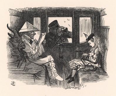 Контролёр всё это время внимательно её разглядывал -- сначала в телескоп, потом в микроскоп и, наконец, в театральный бинокль (иллюстрация Джона Тенниела к книге Льюиса Кэрролла «Алиса в Зазеркалье», выпущенной в Лондоне в 1870 году)