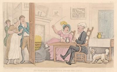 """Доктор Синтакс снова дома. Иллюстрация Томаса Роуландсона к поэме Вильяма Комби """"Путешествие доктора Синтакса в поисках живописного"""", л.20. Лондон, 1881"""