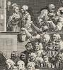 Веселая публика, 1733. Гравюра выполнена как подписной талон на оплату девяти работ Хогарта: «Саутворкской ярмарки» и восьми гравюр из серии «Карьера мота». Изображены зрители, смотрящие комедию. Лондон, 1838